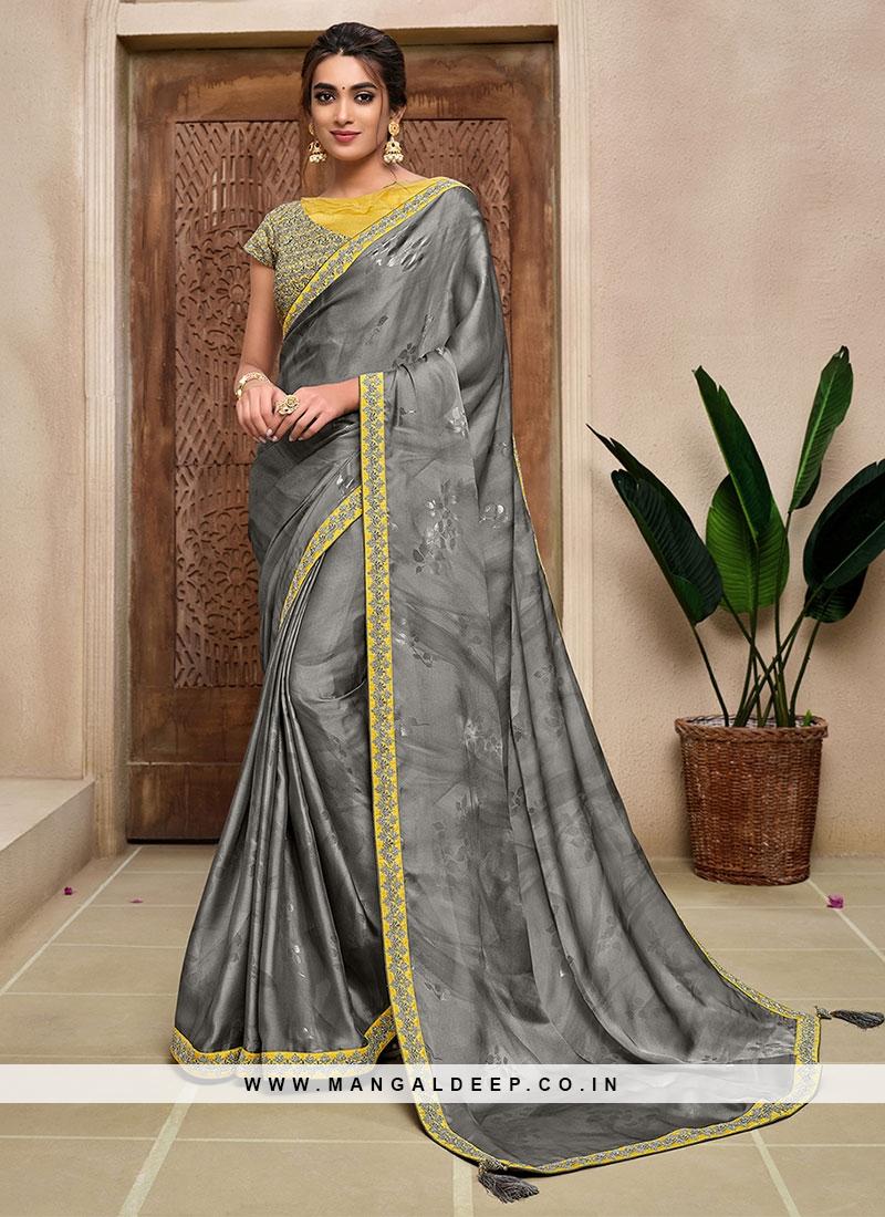 Grey Color Satin Silk New Saree