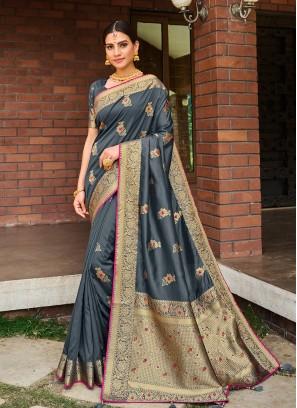 Grey Color Silk Fancy Saree