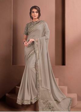 Grey Color Silk Georgette Lace Border Saree