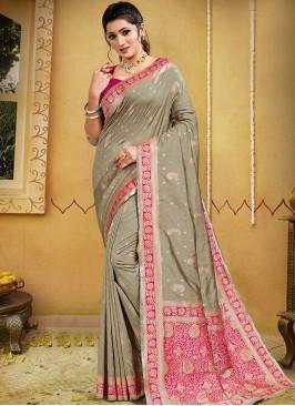 Grey Color Silk Latest Design Saree
