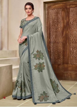 Grey Color Silk New Latest Saree