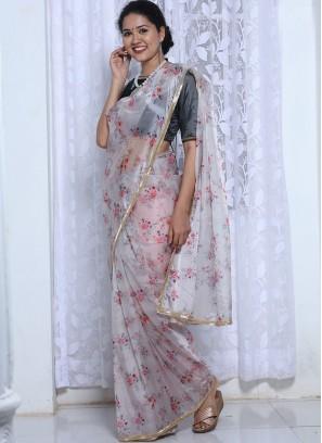 Grey Color Silk Organza Printed Saree