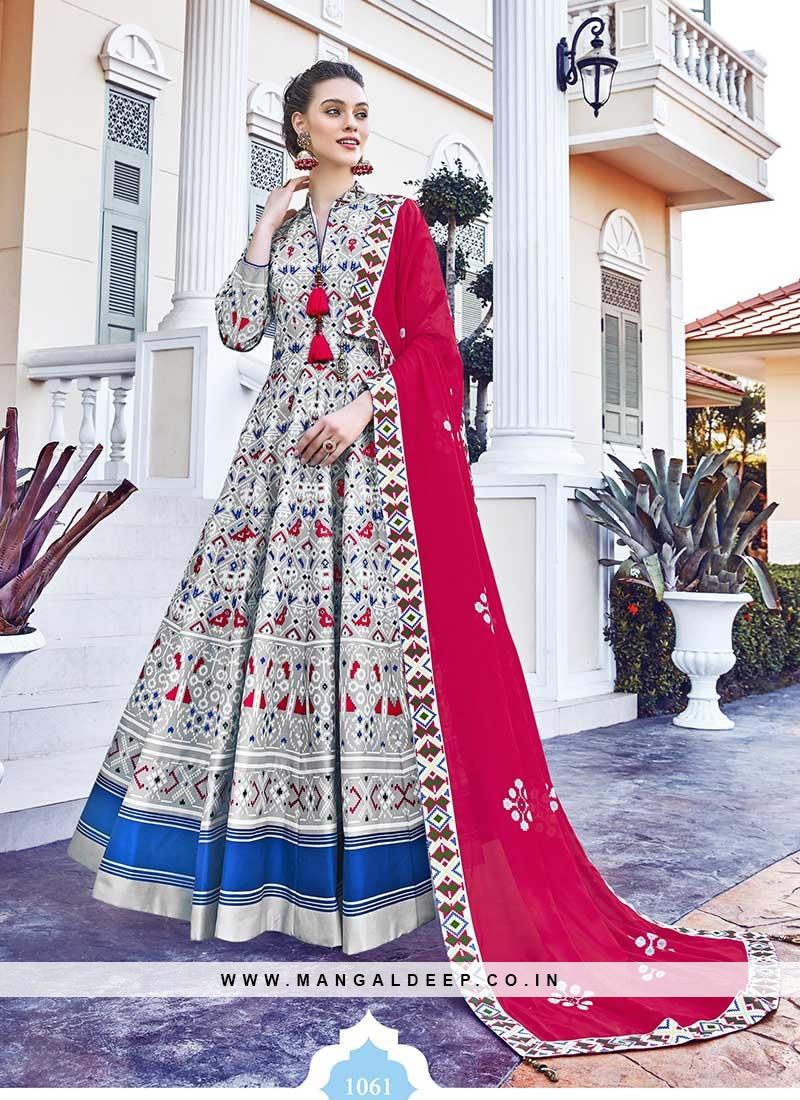 Grey Color Silk Patola Print Long Salwar Suit