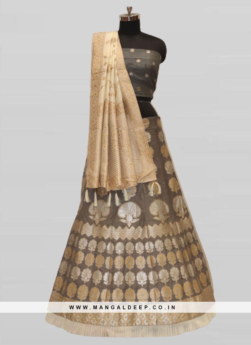 Grey Color Silk Pattu Lehenga Choli