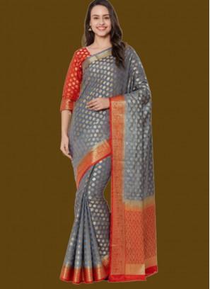 Grey Color Silk Saree For India Ladies