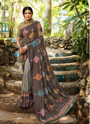 Grey Color Silk Saree For Women