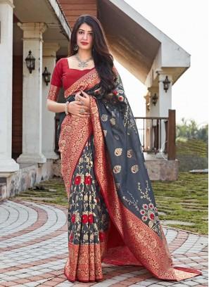 Grey Color Silk Woman Wear Saree