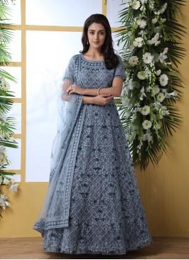 Grey Color Thread Work Floor Length Gown