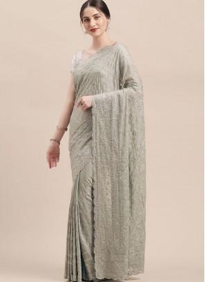 Grey Color Thread Work Georgette Saree
