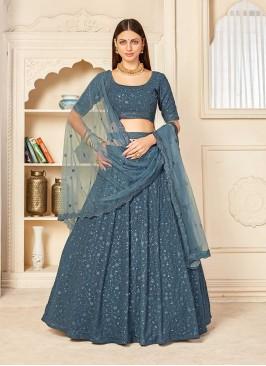 Grey Color Wedding Function Wear Lehenga