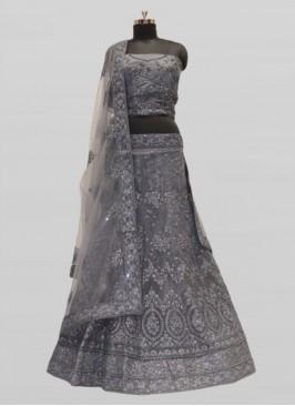 Grey Net Diamond Work Lehenga Online
