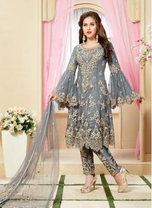 Grey Net Hand Work Western Salwar Kameez
