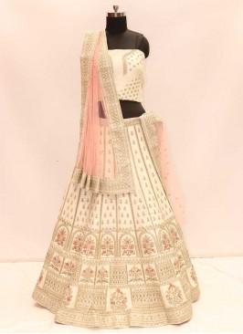 Hot Cream Color Silk Lehenga For Wedding