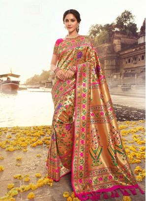 Hot Pink Color Banarasi Saree