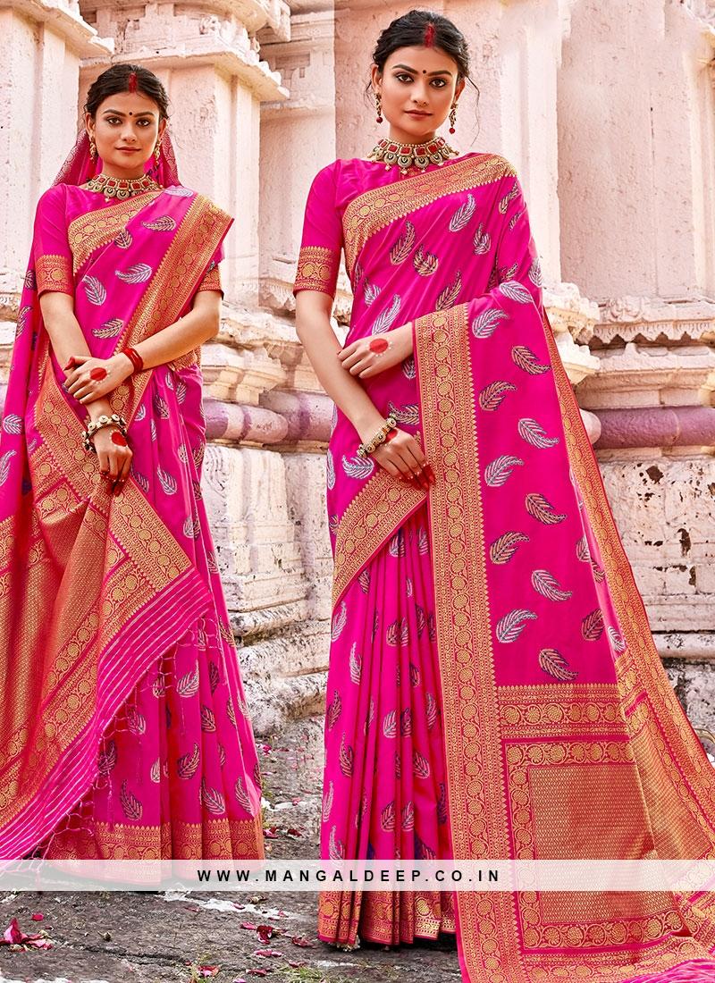 Hot Pink Color Banarasi Silk Fancy Saree