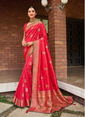 Hot Pink Color Silk Designer Saree