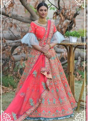 Hot Pink Color Silk Dori Work Wedding Wear Lehenga