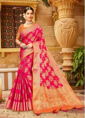 Hot Pink Color Silk Fancy Saree