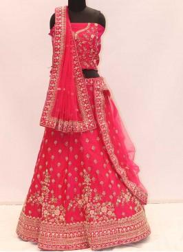 Hot Pink Color Silk Resham Work Lehenga