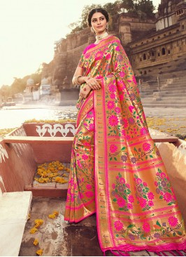 Hot Pink Color Zari Work Silk Saree