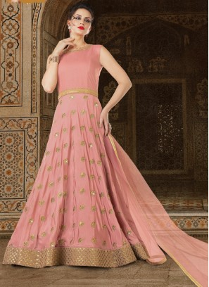 Hot Pink Silk Embroidered Anarkali Suit
