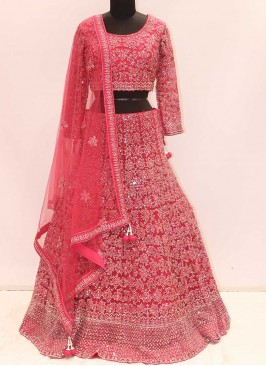 Hot Rani Color Net Mirror Work Lehenga