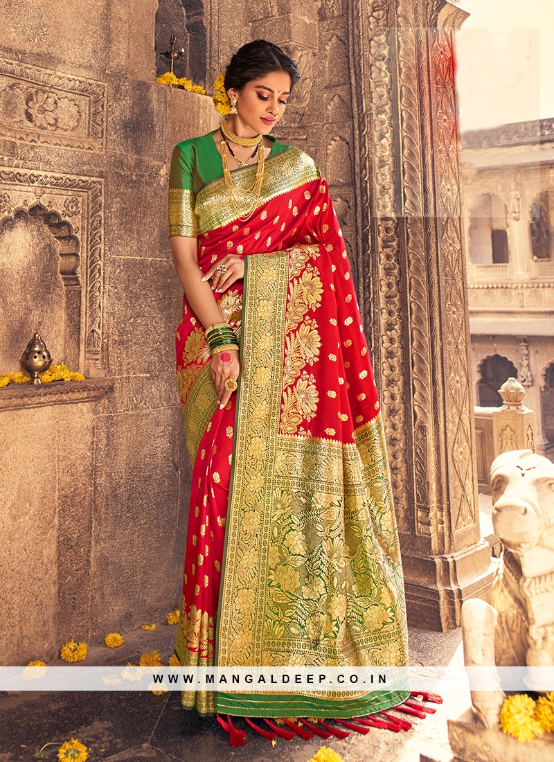 Hot Red Color Fancy Silk Saree
