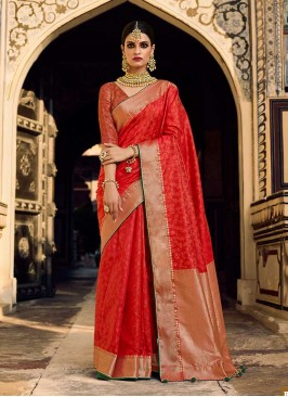 Hot Red Color Jacquard Silk Saree