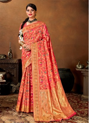 Hot Red Color Saree In Silk