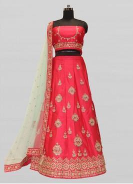 Hot Red Color Silk Bridal Lehenga