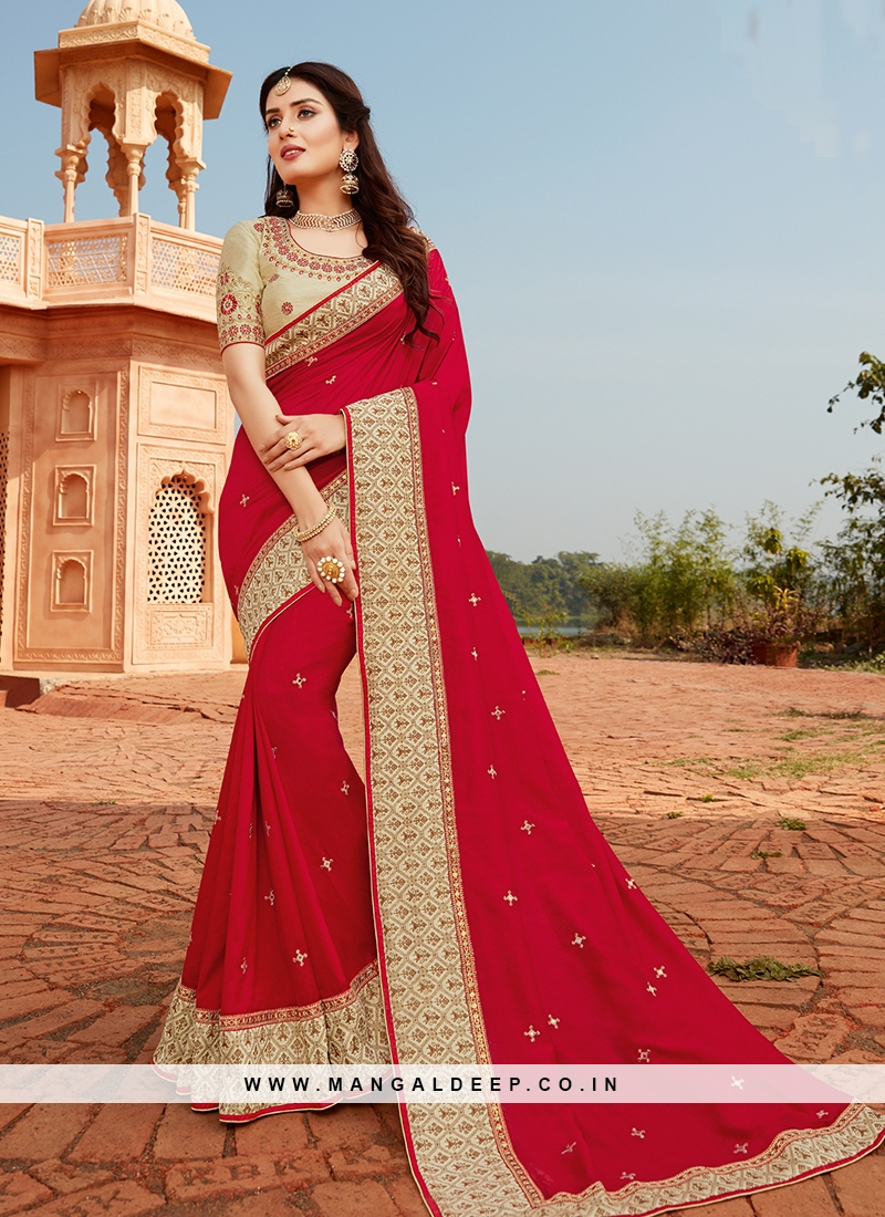 Hot Red Color Silk Embroidered Saree