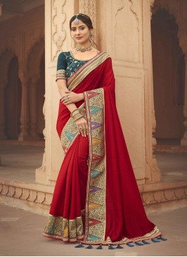 Hot Red Color Silk Party Saree