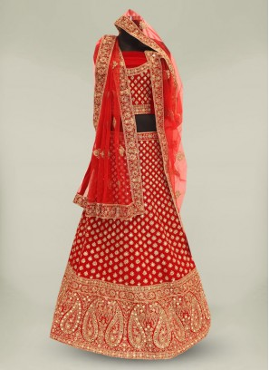 Hot Red Color Velvet Mirror Work Chaniya Choli