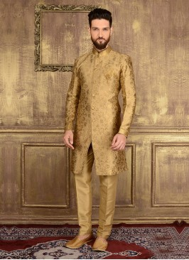 Indo Western Wedding Golden Sherwani