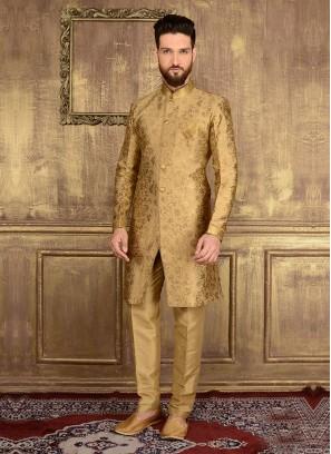 Indo Western Wedding Golden Sherwani