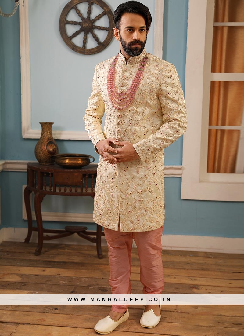 Jacquard And Silk Wedding Function Wear Cream Color Indo Western Suit