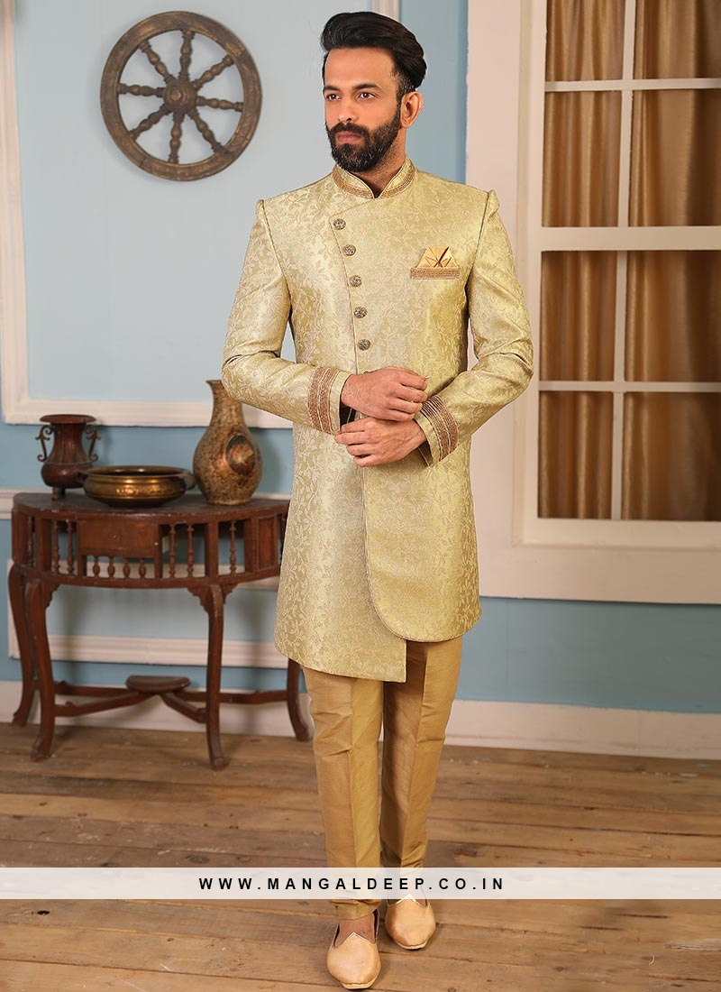 Jacquard And Silk Wedding Function Wear Green Color Indo Western Suit