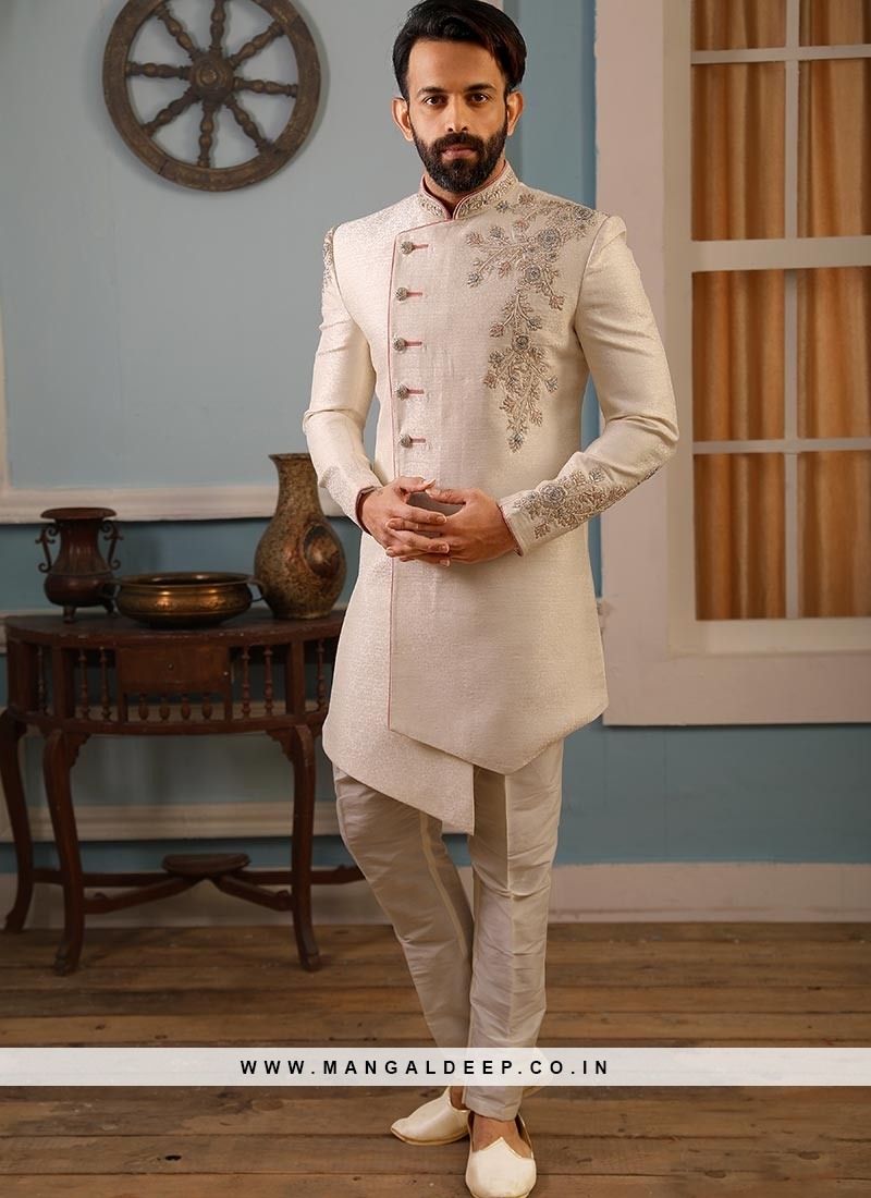 Jacquard And Silk Wedding Function Wear Off White Color Indo Western Suit