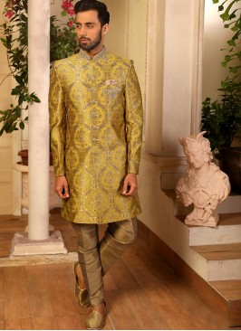 Jacquard And Silk Wedding Function Wear Yellow Color Indo Western Suit