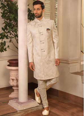 Jacquard Wedding Function Wear Off White Color Indo Western Suit