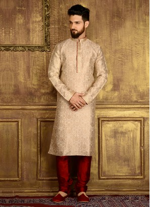 Jaquard Silk Brocade Churidar Kurta Pajama