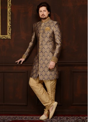 Jaquard Silk Brocade Engagement Mens Indo Western Sherwani In Blue