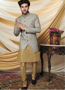 Khaki Kurta With Floral Print Jacket