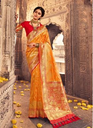Latest Design Orange Color Silk Saree