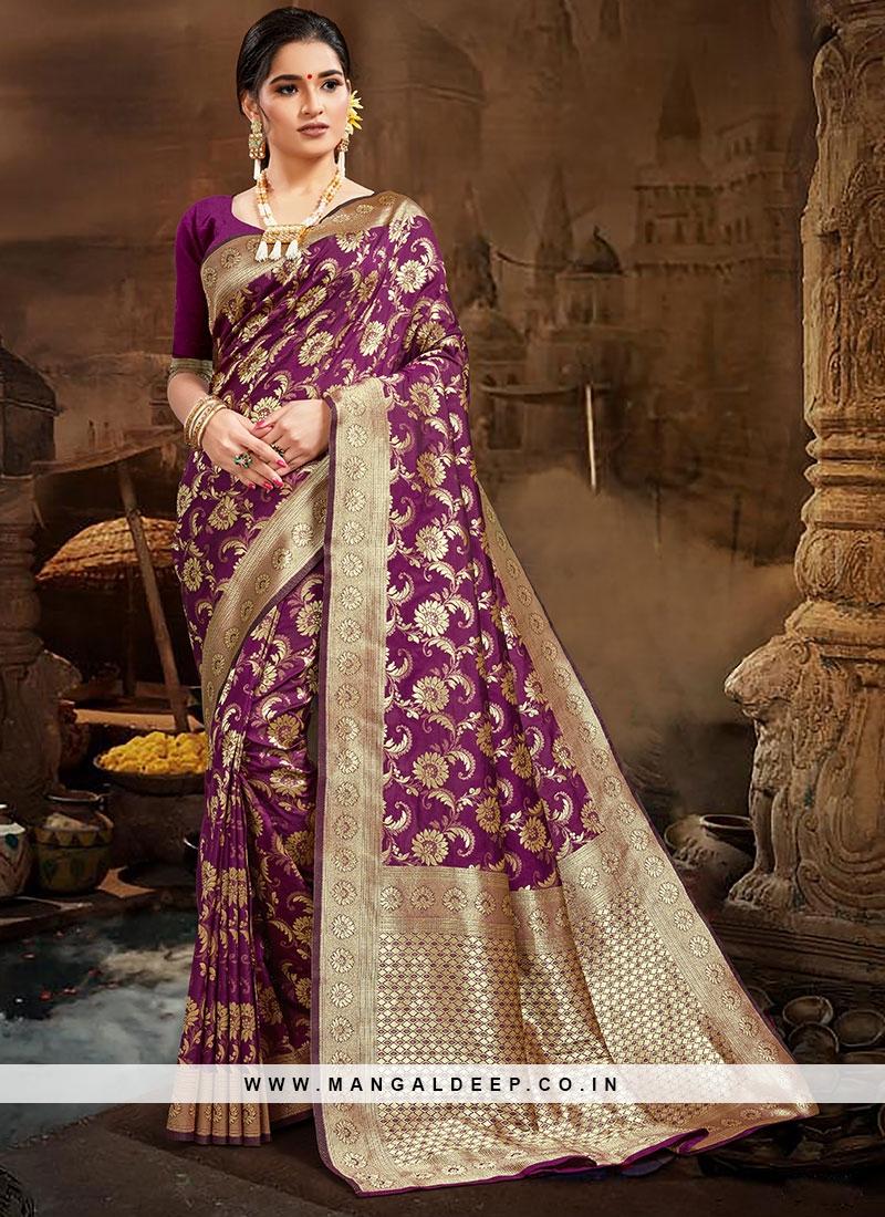 Latest Design Purple Color Saree In Silk