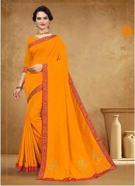 Latest Design Silk Saree In Yellow
