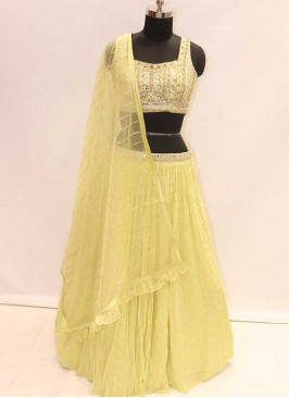 Latest Honey Yellow Georgette Wedding Special Lehenga Choli