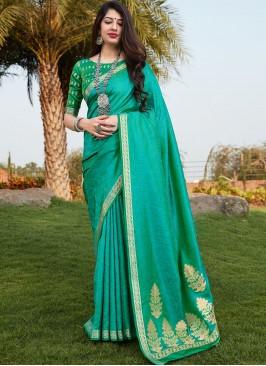 Latest Saree Design In Green Color