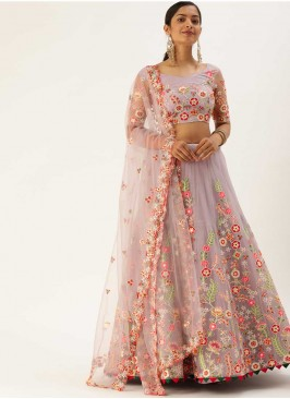 Lavender Color Floral Design Net Lehenga Choli