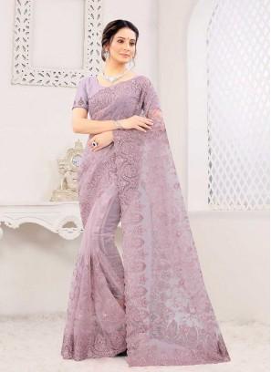 Lavender Color Net Festive Wear Saree